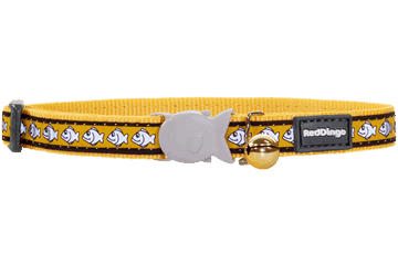 Red Dingo Cat Collar Reflective Fish Yellow CC-RF-YE