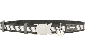 Red Dingo Cat Collar Reflective Ziggy Black CC-RZ-BB