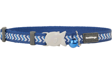 Red Dingo Cat Collar Reflective Ziggy Dark Blue CC-RZ-DB