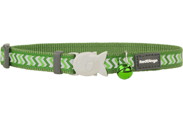 Red Dingo Cat Collar Reflective Ziggy Green CC-RZ-GR
