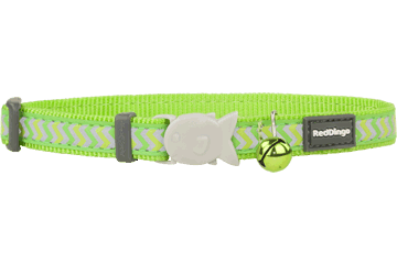 Red Dingo Cat Collar Reflective Ziggy Lime Green CC-RZ-LG