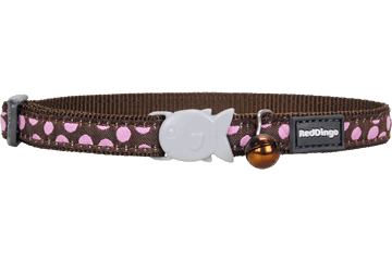 Red Dingo Cat Collar Pink Spots Brown CC-S1-BR
