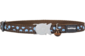 Red Dingo Cat Collar Blue Spots Brown CC-S2-BR