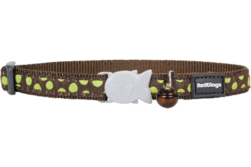 Red Dingo Cat Collar Green Spots Brown CC-S3-BR