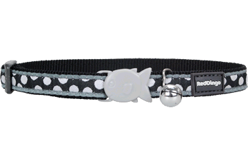 Red Dingo Cat Collar White Spots Black CC-S5-BB