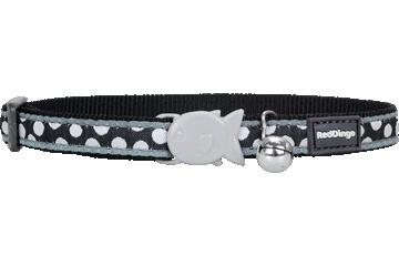 Red Dingo Cat Collar White Spots Black CC-S5-BB