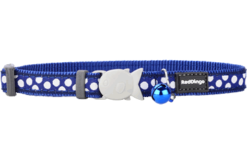 Red Dingo Cat Collar White Spots Dark Blue CC-S5-DB