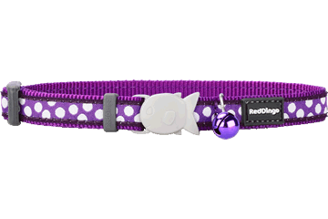 Red Dingo Cat Collar White Spots purper CC-S5-PU