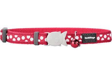 Red Dingo Cat Collar White Spots Rosso CC-S5-RE