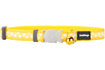 Red Dingo Cat Collar White Spots Yellow CC-S5-YE