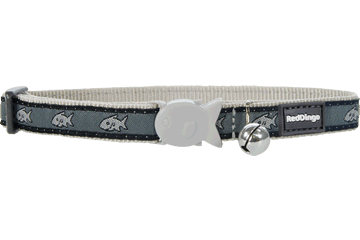 Red Dingo Cat Collar Shark Silver CC-SH-SI