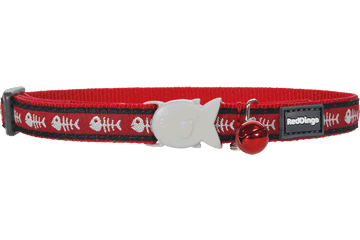 Red Dingo Cat Collar Fish Bone rood CC-SK-RE