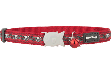 Red Dingo Cat Collar Skull & Roses Rosso CC-SR-RE