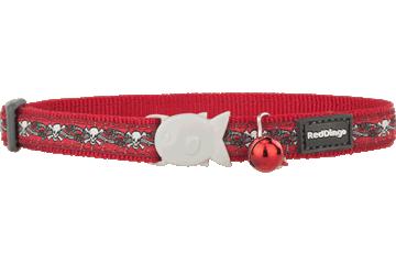 Red Dingo Cat Collar Skull & Roses Red CC-SR-RE