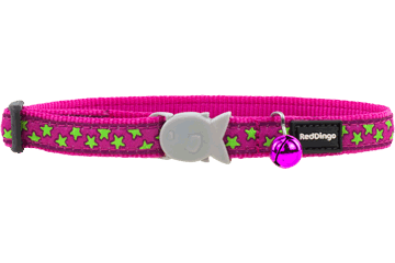 Red Dingo Cat Collar Stars Hot Pink CC-ST-HP
