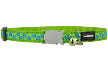 Red Dingo Cat Collar Stars Lime Green CC-ST-LG