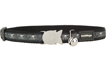 Red Dingo Cat Collar Skull & Wire Black CC-SW-BB