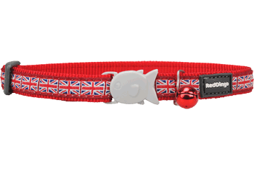 Red Dingo Cat Collar Union Jack rood CC-UK-RE