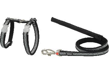 Red Dingo Cat Harness & Lead Bedrock Black CH-BE-BB
