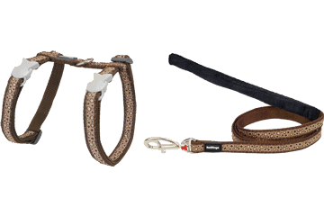 Red Dingo Cat Harness & Lead Bedrock Brown CH-BE-BR