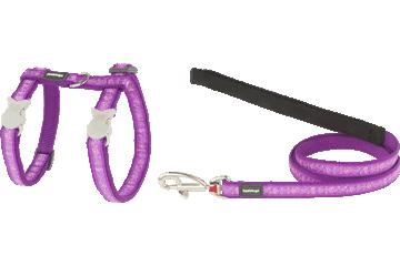 Red Dingo Cat Harness & Lead Butterfly Purple CH-BL-PU