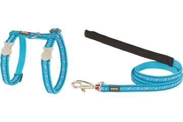 Red Dingo Cat Harness & Lead Butterfly Turquoise CH-BL-TQ