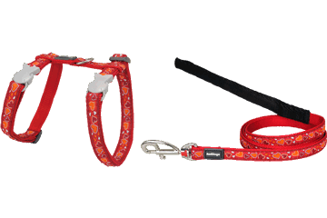 Red Dingo Cat Harness & Lead Breezy Love Red CH-BZ-RE