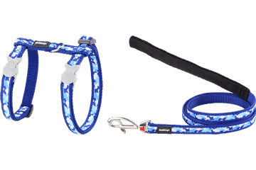 Red Dingo Cat Harness & Lead Camouflage Dark Blue CH-CF-DB