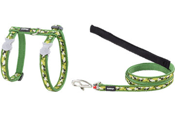 Red Dingo Cat Harness & Lead Camouflage Green CH-CF-GR