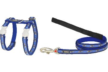 Red Dingo Cat Harness & Lead Fish Face Dark Blue CH-FF-DB