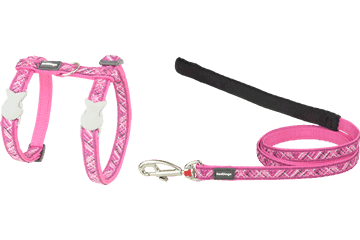 Red Dingo Cat Harness & Lead Flanno Hot Pink CH-FN-HP