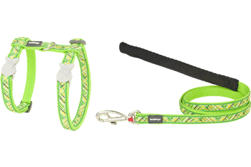 Red Dingo Cat Harness & Lead Flanno Lime Green CH-FN-LG