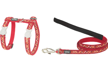 Red Dingo Cat Harness & Lead Flanno Red CH-FN-RE