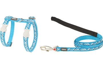 Red Dingo Cat Harness & Lead Flanno Turquoise CH-FN-TQ