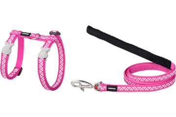 Red Dingo Cat Harness & Lead Gingham Hot Pink CH-GI-HP