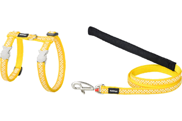 Red Dingo Cat Harness & Lead Gingham Yellow CH-GI-YE