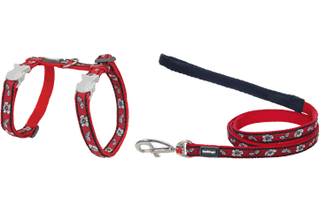 Red Dingo Cat Harness & Lead Hibiscus Red CH-HI-RE
