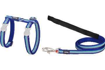 Red Dingo Cat Harness & Lead Horizontal Stripes Dark Blue CH-HO-DB