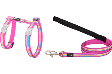 Red Dingo Cat Harness & Lead Horizontal Stripes Hot Pink CH-HO-HP