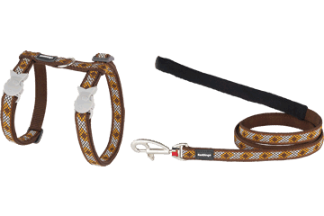 Red Dingo Cat Harness & Lead Monty Brown CH-MY-BR