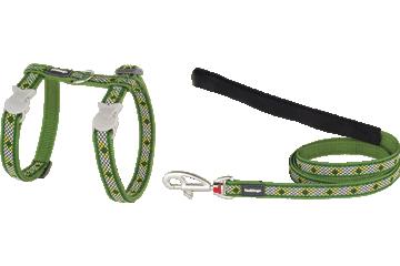 Red Dingo Cat Harness & Lead Monty Green CH-MY-GR