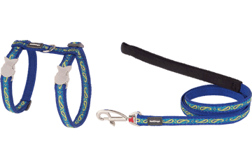 Red Dingo Cat Harness & Lead Paisley Dark Blue With Green CH-P2-DB