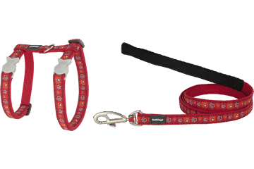 Red Dingo Cat Harness & Lead Paw Impressions Red CH-PI-RE