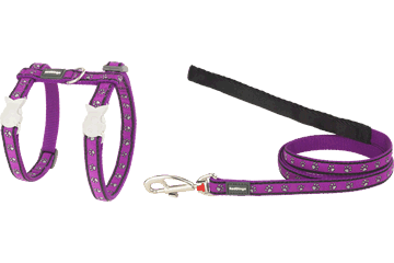 Red Dingo Cat Harness & Lead Paw Prints Purple CH-PP-PU