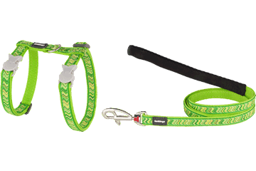 Red Dingo Cat Harness & Lead Pizzazz Lime Green CH-PZ-LG
