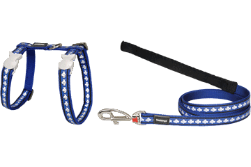 Red Dingo Cat Harness & Lead Reflective Fish Dark Blue CH-RF-DB