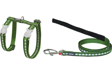 Red Dingo Cat Harness & Lead Reflective Fish Green CH-RF-GR