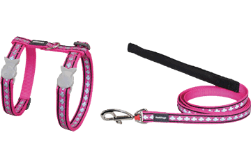 Red Dingo Cat Harness & Lead Reflective Fish Hot Pink CH-RF-HP