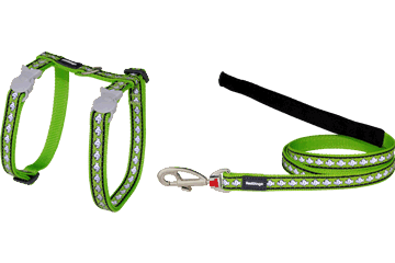 Red Dingo Cat Harness & Lead Reflective Fish Lime Green CH-RF-LG