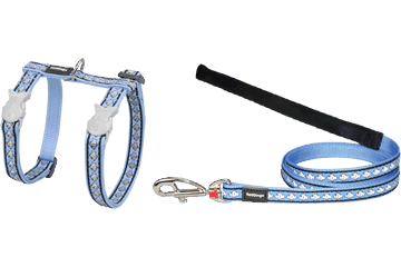 Red Dingo Cat Harness & Lead Reflective Fish Medium Blue CH-RF-MB